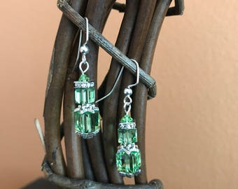 Green Swarovski earrings, Peridot Crystal, August Birthstone, Cube earrings