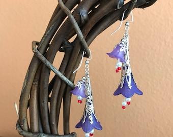 Purple Lucite flower earrings, boho earrings, whimsical earrings