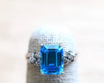14K White Gold Swiss Blue Topaz And Diamond Ring