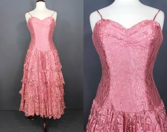 80's Prom Dress......Pretty In Pink 80's Ruffled Lace Prom Dress Party Dress