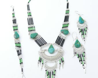 Boho Jewelry bohemian jewelry gift for her boho earrings boho boho necklace jewelry turquoise jewelry bohemian turquoise earrings necklace