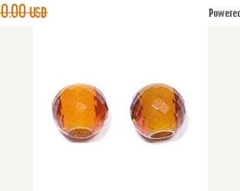70% OFF Beer Color Quartz Handmade Faceted Round Loose Beads Pair-11mm With 4mm Hole-Free Shipping