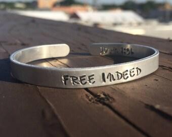 Free Indeed | Hand Stamped Cuff Bracelet