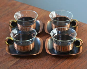 Vintage Copper Jena Schott Germany Glasses, Holders and Saucers - Greek Key Pattern, Mid Century Modern, Set of 4, West German Glass
