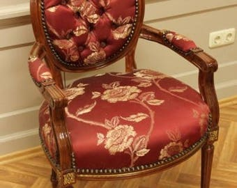 Baroque Armlehner Rococo Chair antique style MoCh0067Rd