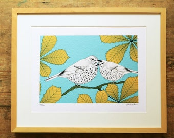 Songthrushes & chestnut limited edition A3 print