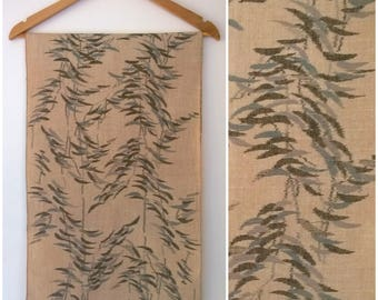 Vintage Handwoven Tsumugi Kimono Silk Fabric Natural Brown Leaves