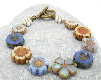 Floral Bracelet, Flower Bracelet, Blue Bracelet, Cream Bracelet, Daisy Bracelet, Boho Bracelet, Bohemian Bracelet, Czech Glass Bracelet.
