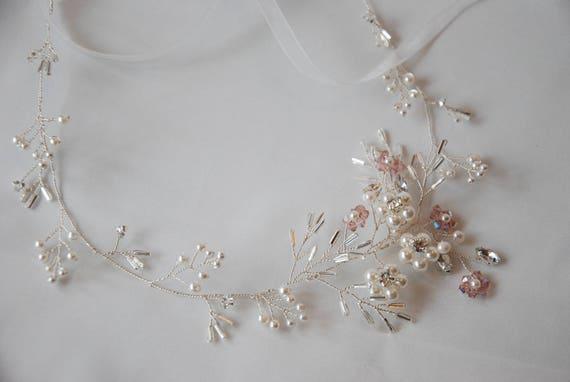 Beaded bridal hair vine;bridal headpiece;pearl and crystal hair wreath