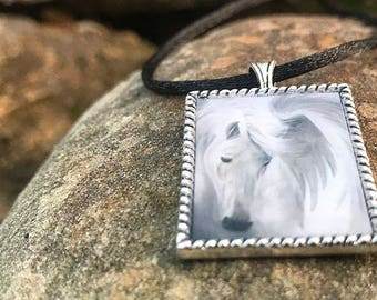 Pegasus Art Pendant Necklace // Resin filled Silver Tone Charm // Original Art by Tony Rector // White Pegasus Horse Jewelry from Artwork