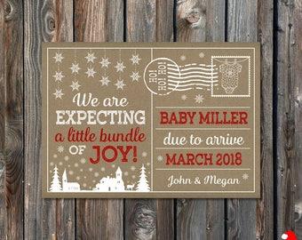 PRINTABLE Christmas Pregnancy Announcement Card–Christmas Card-Christmas Pregnancy Reveal Card-Christmas Baby Announcement-Rustic Craft-PA30