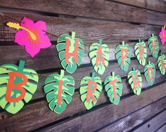Happy Birthday Tropical Summer Banner - Luau Party, Summer Party, Hawaiian Party