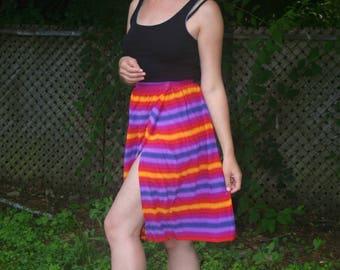 Daniel Hechter Paris Rainbow Stripe Silk Midi Skirt 70s 80s Size XS-S
