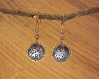 Etched Black Copper and Brass Disc Earrings