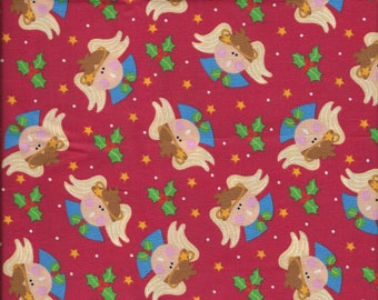 "New Christmas Angels Holly and Stars on Red 100% Cotton Fabric 35"" x 42"" Piece"