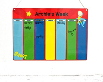 Kids Weekly Planner - Children's Routine Chart - Weekly Schedule - Childrens Diary - Morning Routine - Daily Routine - Superhero Planner