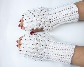 Dragon Fingerless Gloves, Crystal gloves, Crocodile Gloves, Dragon Scale Fingerless Gloves, Dragon Gloves, Crocodile stitch, Christmas Gift