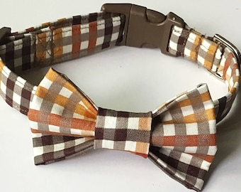 Fall Plaid Bow Tie Collar for Male Dogs and Cats