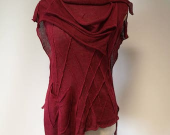 Summer cherry coloured linen top, M size. The hot price.