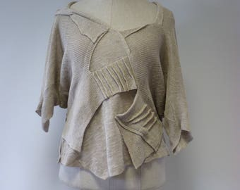 The hot price. Boho taupe knitted blouse, L size. Made of pure linen.