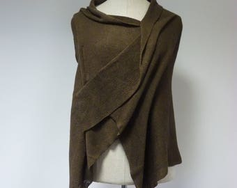 Asymmetrical chocolate linen blouse, L size. Only one sample.