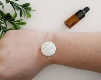White Coin Lava Rock Bracelet, Lava Rock Bracelet, Essential Oil Bracelet, Aromathearpy Bracelet, Essential Oil Diffuser Bracelet