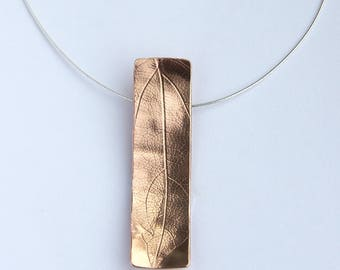 "Copper Leaf Pendant with a 16"" Silver chain"