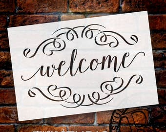 Welcome Word Stencil  with Flourishes - Select Size - STCL1007 - by StudioR12