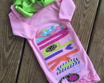 Baby girl applique name gown