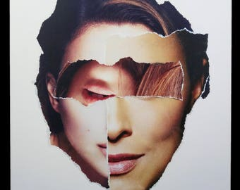 "Karen Savage Collage ""Face"" Series Color Photograph Woman Face Photo Vintage Modern Art"