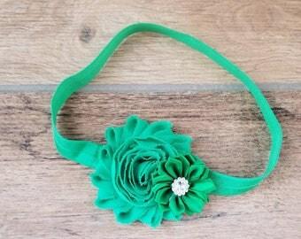 Emerald Green Headband,Holiday Headband,Christmas Headband,Baby Headband,Infant Headband,Green Bows,Baby's 1st Christmas,Baby Girl Headband