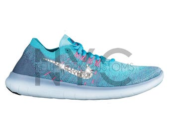 Women's Nike Free RN Flyknit 2017 Work Blue White Swarovski Crystal Rhinestones Custom