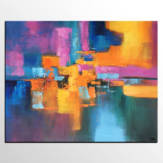 Acrylic painting abstract painting dining room wall art for Abstract art for dining room