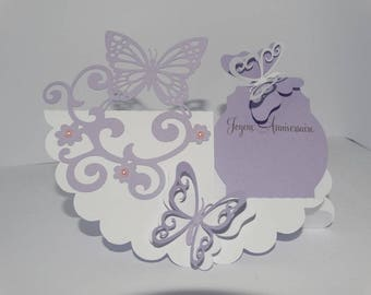 Lace circle Butterfly birthday card