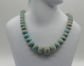 Graduated turquoise stones color necklace - howlite southwest necklace  - bohemian necklace - Unique gift for her