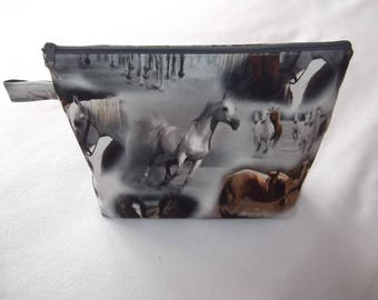 Cosmetic makeup bag cosmetic bag horses