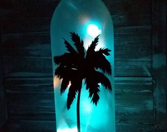 Palm Tree Lighted Wine Bottle/Beach/Glass/Bathroom/Decor/Tropical/Tiki/Porch/Bar/Housewarming/House