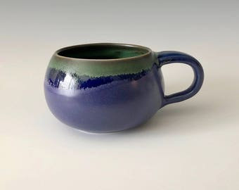 Modern handmade pottery coffee cup/mug, soup cup Brilliant blue and green on white stoneware Haight Pottery Company