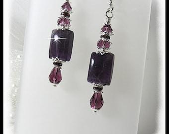 2459 February birthstone earrings, amethyst earrings, February birthstones, Purple earrings, amethyst jewelry, February jewelry,
