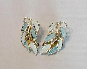 1950 Clip Earrings,Blue Gold Leaf Clip Earrings,Old Clip Earrings,Leaf Shaped Clip Earrings,Clip Earrings Leaf Shape,Old Clip Leaf Earrings
