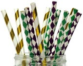 Mardi Gras straws, New Orleans theme, Harlequin, Diamond, party decorations, green, purple, gold, wedding, bridal shower, graduation, 15CT