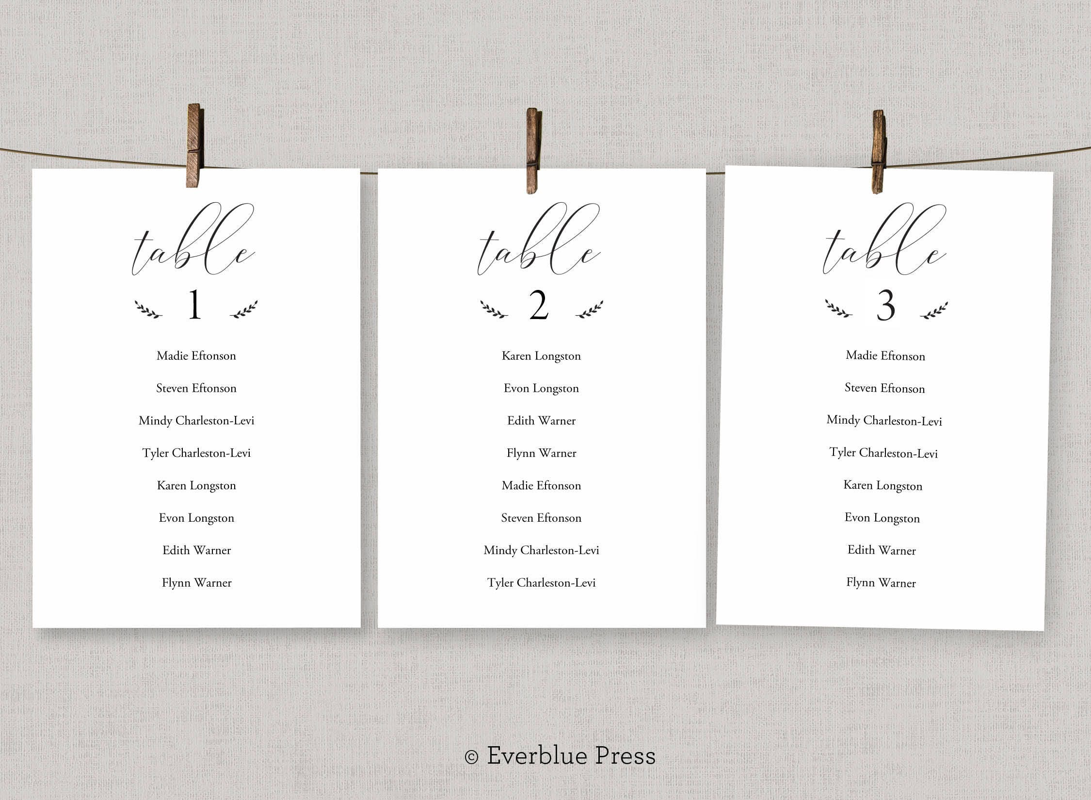 table assignments template