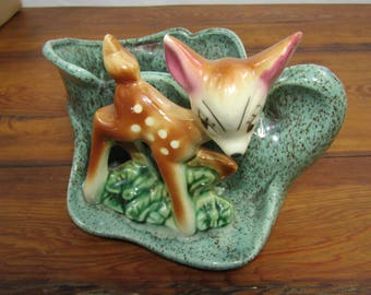 Vintage USA pottery planter with fawn