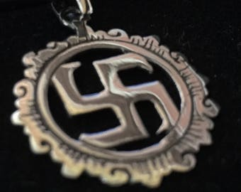 925 Silver Pendant of the Hindu Peace Swastika symbol