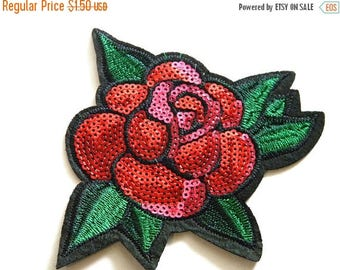 HALF PRICE Red Rose Sequins Embroidered Patch Appliqué