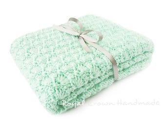 Mint Baby Blanket, Crochet Baby Blanket, Baby Blanket Crochet, Baby Girl Blanket, Baby Boy Blanket, Knit Baby Blanket, Handmade Baby Blanket