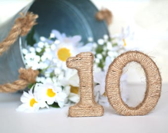 Table Numbers, Rustic Table Numbers, Jute Twine Wrapped Wooden Numbers, Rustic Numbers, Jute Numbers, Rustic Home Decor
