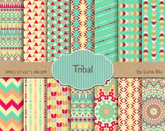 """SALE 50%OFF Tribal Digital Paper: """" Tribal Patterns"""" include triangles, chevron, arrows and aztec pattern, tribal designs, patterned papers"""