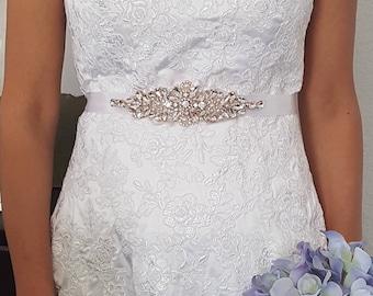 Rose Gold Crystal Rhinestone Bridal Sash, Bridal Sash, Wedding Accessories, Pearl Bridal Belt, Rose Gold, Style 786.1