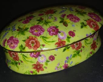 Rare Vintage Porcelain Jewerly Powder Box Colorful Floral Desing Formalities by Baum Bros China